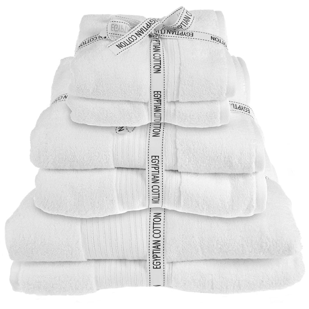 Spa 100% Egyptian Cotton 6 Piece Towel Bales White - Ideal Textiles