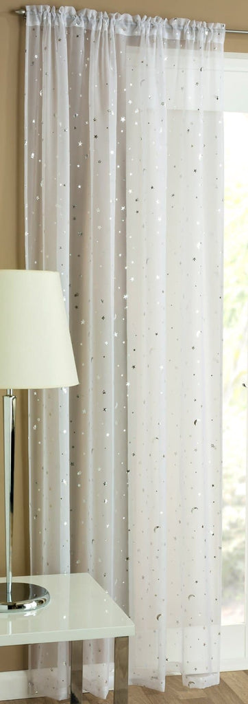 Starlight Voile Curtain Panels White - Ideal Textiles