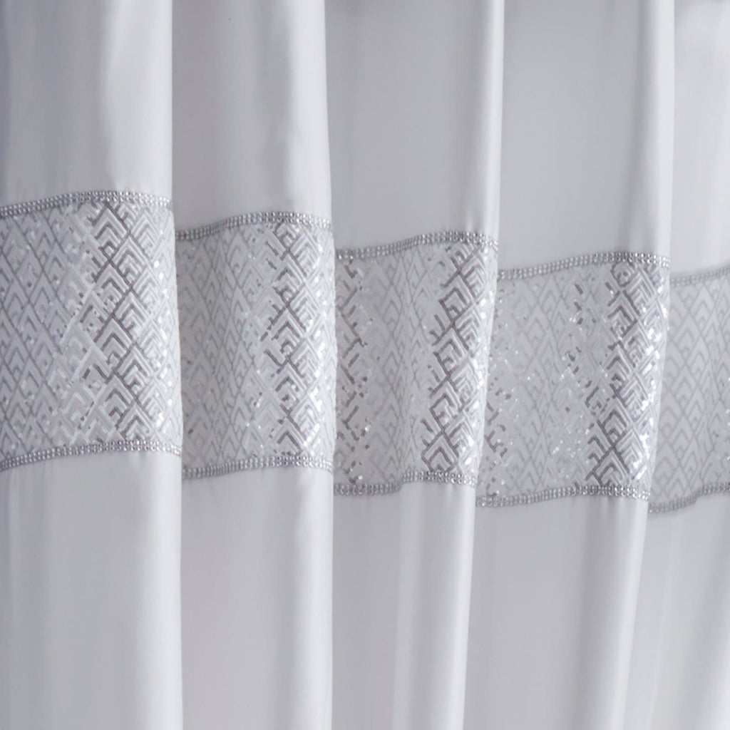 Shimmer Lined Eyelet Curtains White - Ideal Textiles