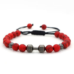 Red Beaded Bracelet Fitness Dumbbell gift for dad