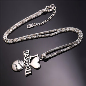 baseball necklace and pendant gold and silver fitness men and women