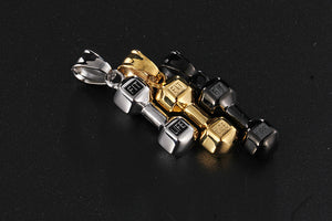 Stainless Steel Dumbbell Necklace & Pendant
