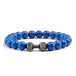 Blue Beaded Bracelet Fitness Dumbbell gift for dad