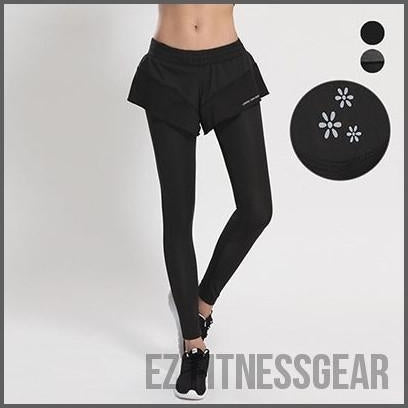Women's workout leggings - slim and quick dry lotus leaf,  - EZ Fitness Gear