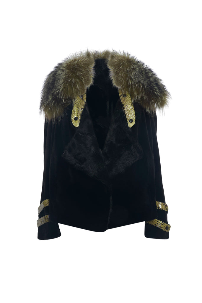 Black Mink Jacket with Pine Color Fox Collar and Leather inserts