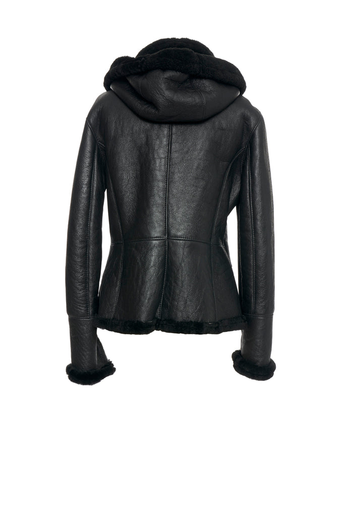 Black Shearling Jacket with Detachable Hood