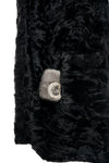 Black Swakara Sections Coat with Ranch Mink Collar
