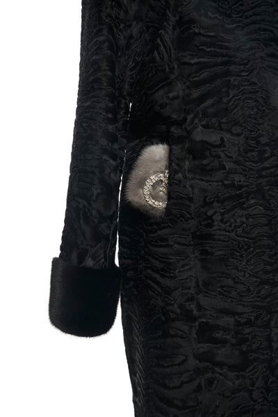 Black Swakara with Black Mink Collar and Cuffs