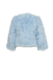 Baby Blue Ostrich Cropped Jacket