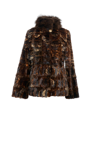 Brown Mink Jacket with Fox Collar