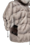 Silver Blue Ice Mink Bomber Jacket