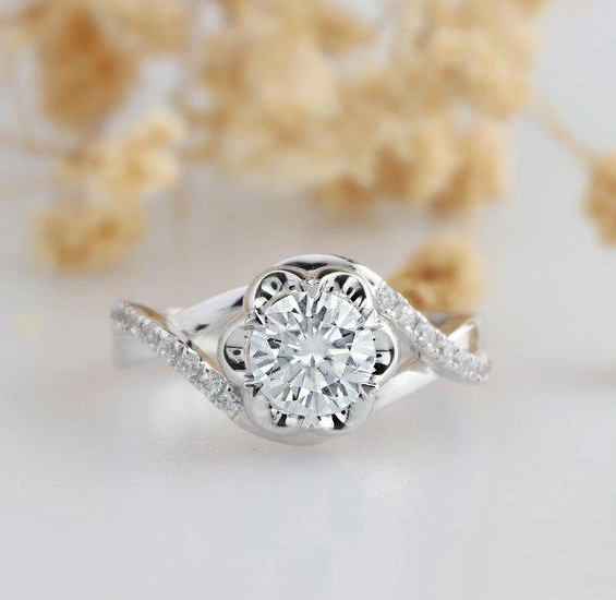 Awesome Custom White Gold Moissanite and Diamond Ring