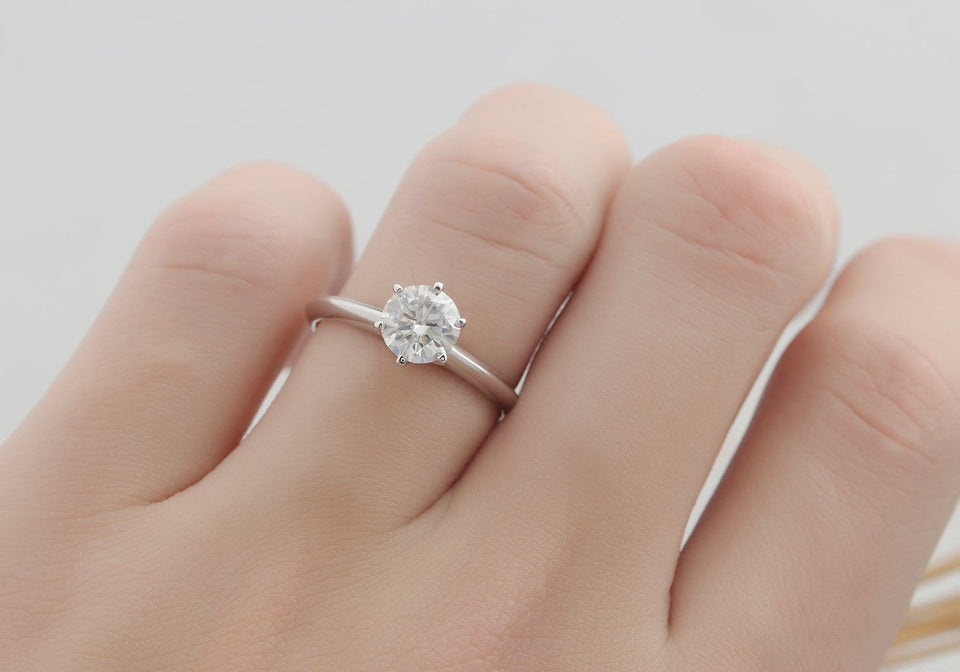 Round Cut 1ct Moissanite Solitaire 6 Prong Set Engagement Ring-Custom Order