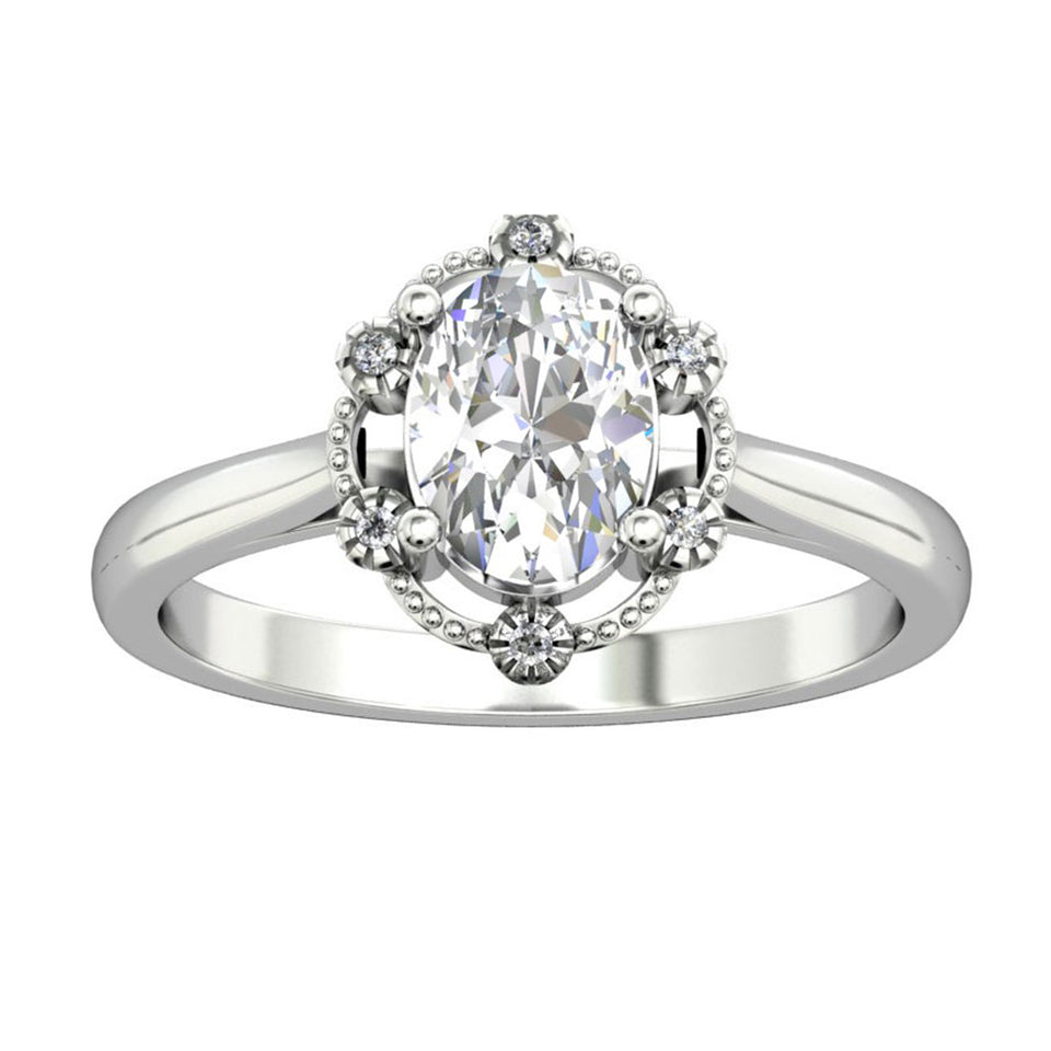 Accents Solid 14k Gold Engagement Ring, 1.5CT Oval Cut Moissanite Wedding Women's Ring