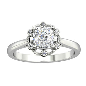 925 Sterling Silver - Cushion Cut 6x6mm Moissanite Halo Engagement Ring