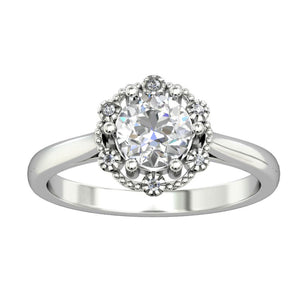 Dainty Prong Set Ring, 1.0CT Round Cut Colorless Moissanite Wedding Ring