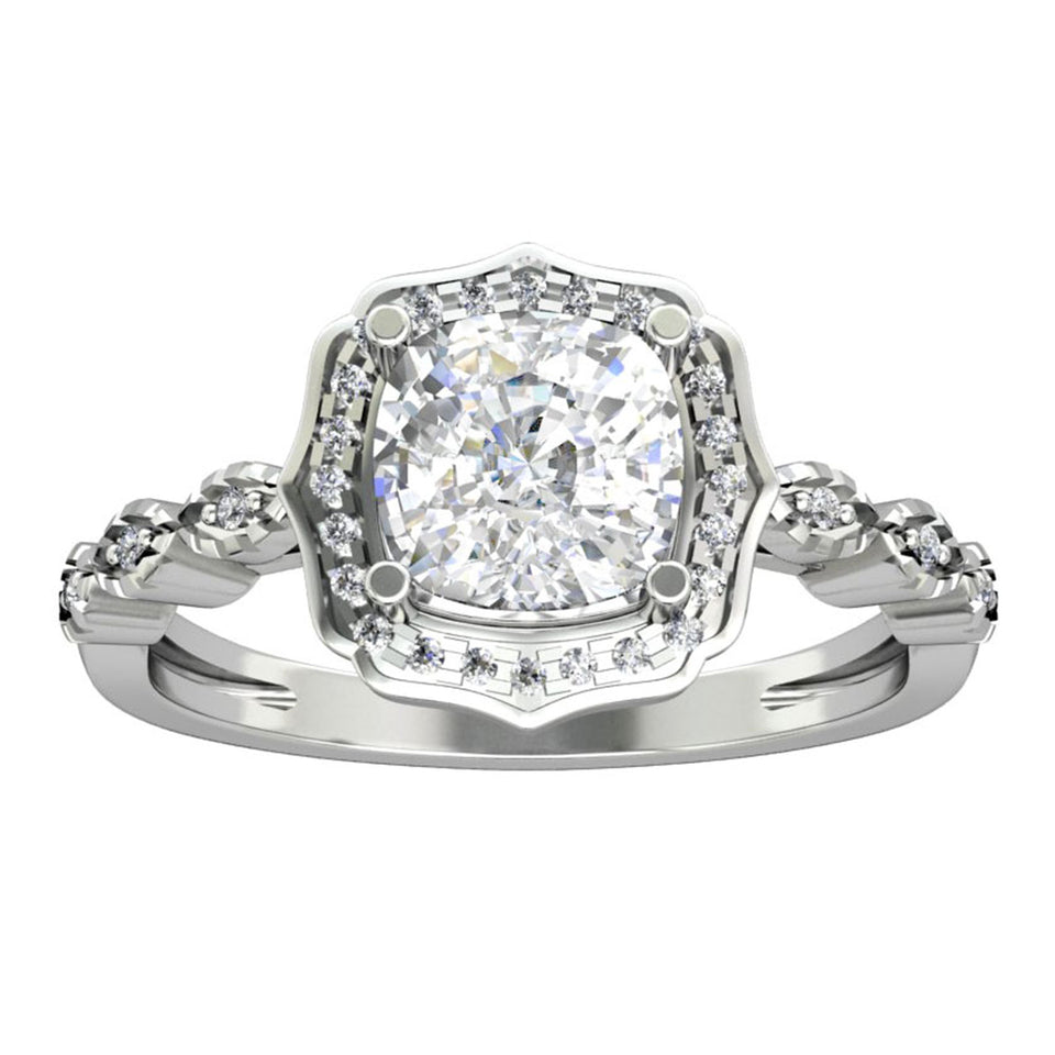 Half Eternity Engagement Ring, 1.7CT Cushion Cut Moissanite Halo Ring