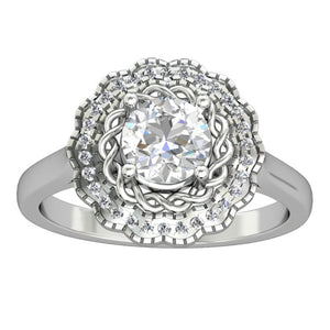 Art Deco 14k Gold Promise Ring, 1.0CT Round Cut Moissanite Engagement Ring