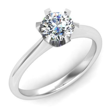 925 Sterling Silver - Round 1CT Solitaire 6 Prong Engagement Ring