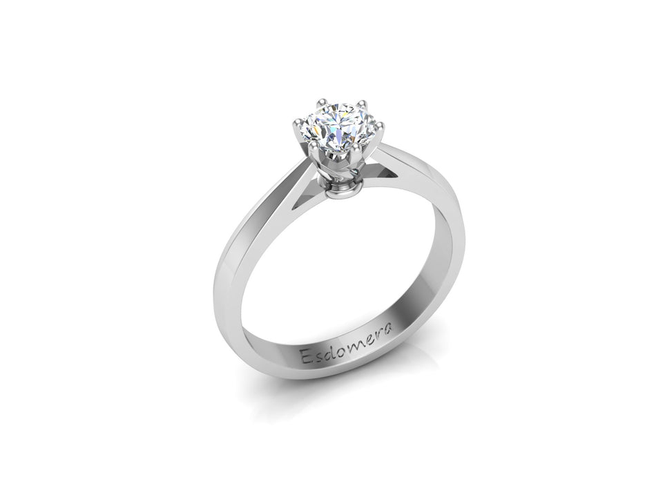 Classic 6 Prongs Round 0.5ct Moissanite Ring, Tapered Solitaire Engagement Ring