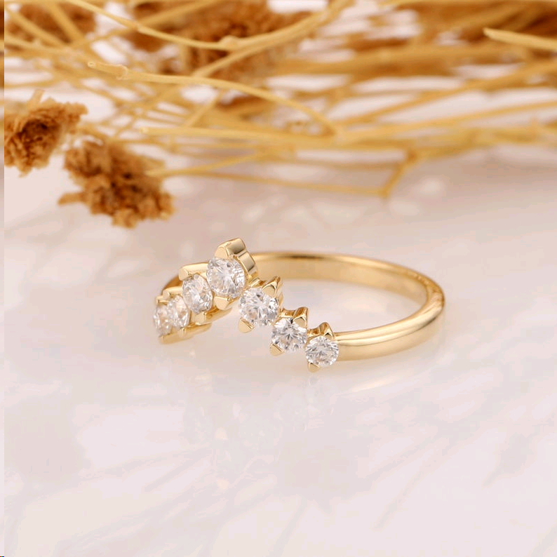18k Solid Yellow Gold Moissanite Wedding Band, Brilliant Moissanite Accents Ring, V-shaped Matching Band, Promise Ring