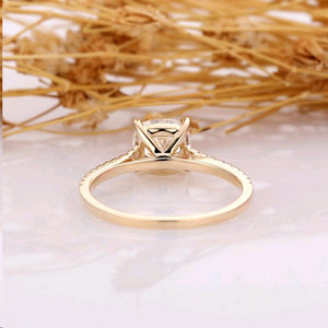 Cushion Cut 6.5mm Esdomera Moissanite, Unique Engagement Ring, Accents 14k Yellow Gold Wedding Ring, Art Deco Ring