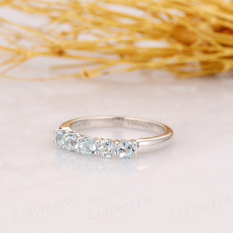 Aquamarine Band, Classic 0.5ctw Round Aquamarine 5 Stone Wedding Band