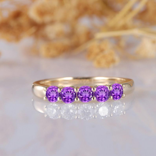 Natural Amethyst Band, Classic 0.5ctw Round Cut Natural Amethyst Ring, 5 Stone Wedding Band, Elegant Purple Stone, 14k Yellow Gold Ring