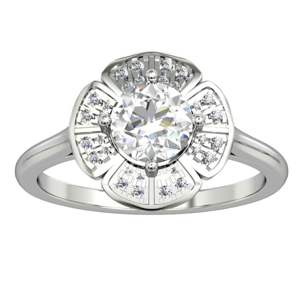 Floral Halo Ring, 1.0CT Round Cut Blue Moissanite Wedding Ring, Gifts For Lover