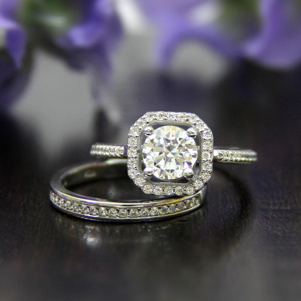 925 Sterling Silver - Round 1.25CT Halo Channel Moissanite Bridal Set