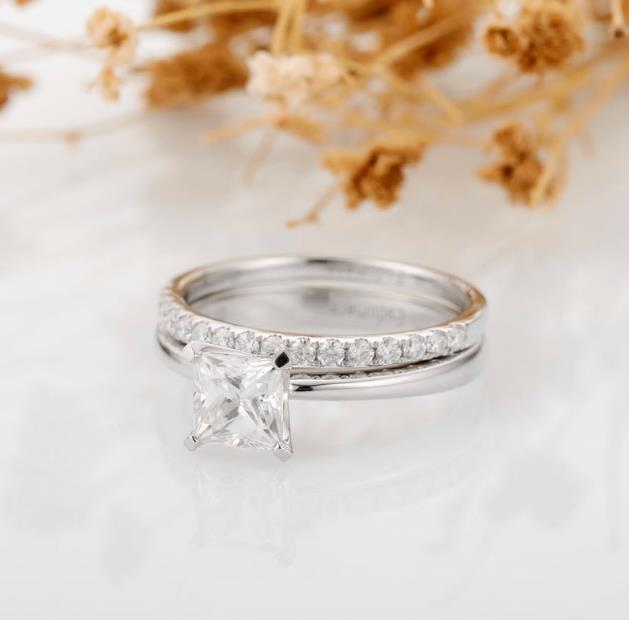 Moissanite Bridal Set, Princess Cut 1.00 CT Moissanite Ring, Accents 14k White Gold Wedding Ring Bridal Set, Women Ring Set