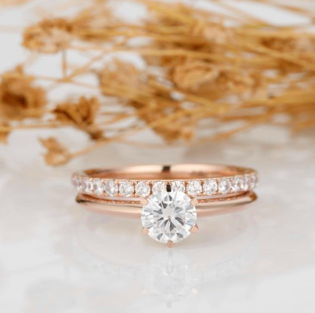 Round Cut 1CT Moissanite 6-Prongs Solitaire Ring Set, 14k Rose Gold Wedding Bridal Set Engagement Ring Accents Band