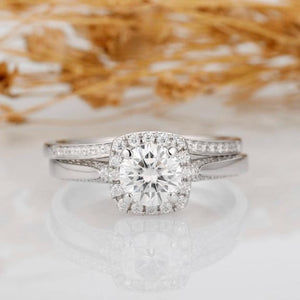 1.25ct Round Cut Moissanites Wedding Set Ring, Halo Accents 14k White Gold Antique Filigree Bridal Sets