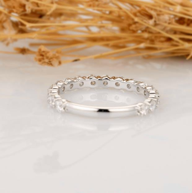 Moissanite Band, 3/4 Eternity Matching Band, Solid 14k White Gold Wedding Anniversary Ring, Art Deco Band, Women's Ring