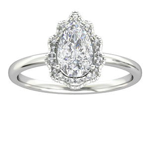 Water Drop Shape Promise Ring, 1.5CT Pear Cut Moissanite Halo Wedding Ring