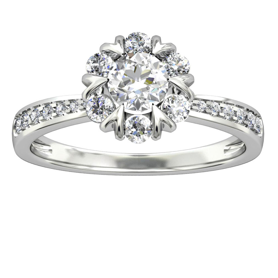 925 Sterling Silver - Crown Halo 5mm Moissanite Engagement Ring