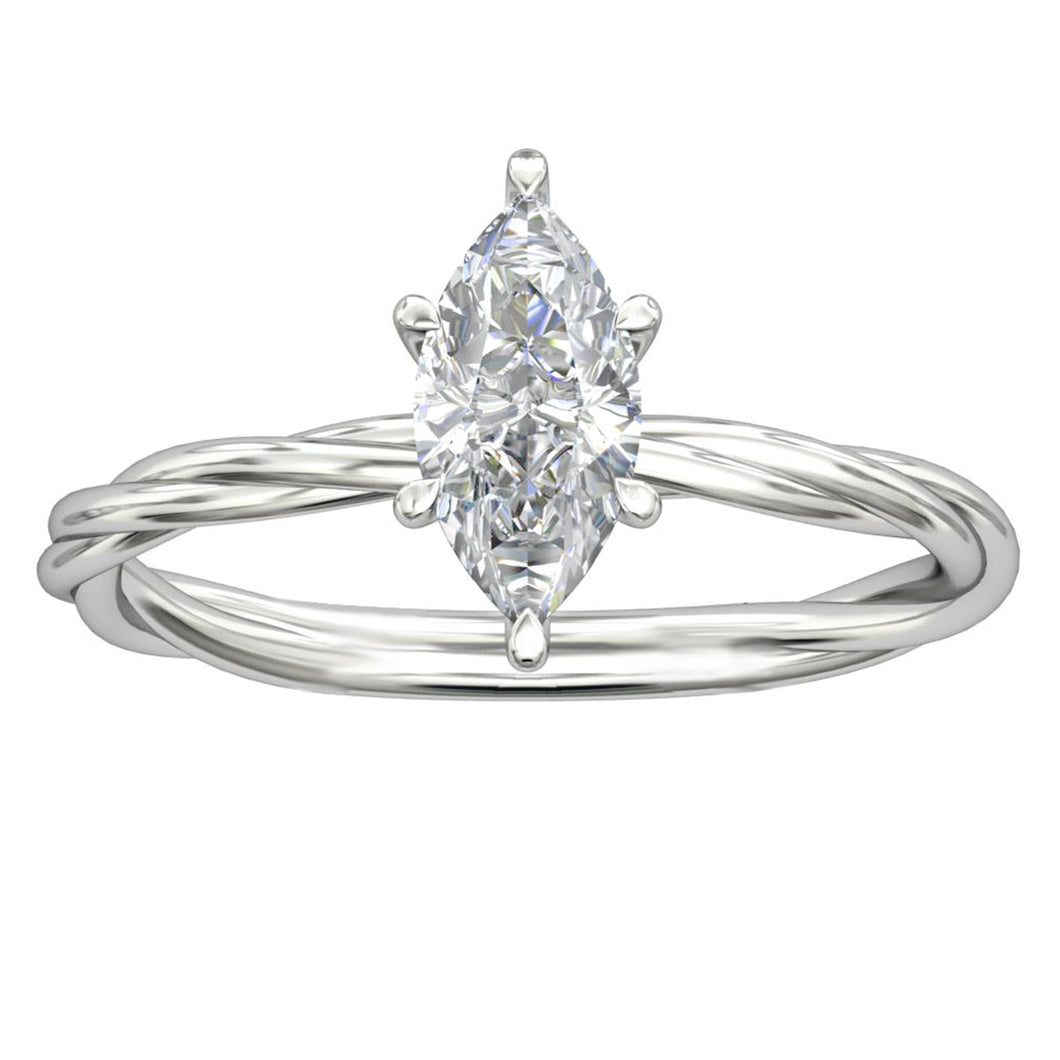 925 Sterling Silver - Rope Solitaire Marquise Cut 1CT Moissanite Ring