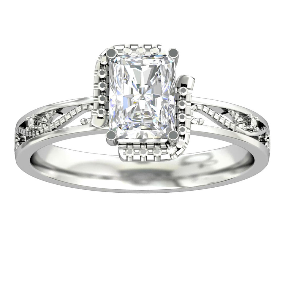 Special Design Ring, 1.0CT Emerald Cut Moissanite Accents Engagement Ring