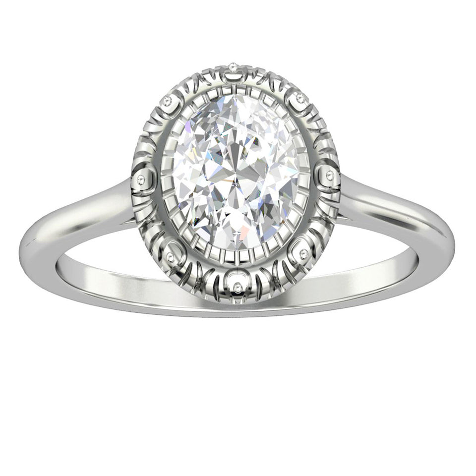 Art Deco 14k Gold Solitaire Wedding Ring, 1.5CT Oval Cut Moissanite Ring