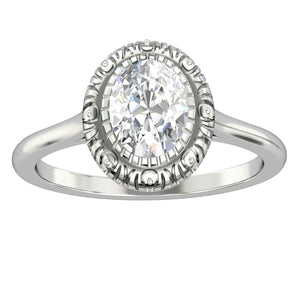 Solitaire Ring, 1.5CT Oval Cut Blue Moissanite Engagement Ring, Vintage Style Ring