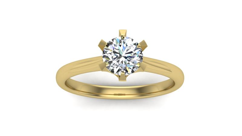 Round Cut 1 Carat Moissanite Classic 6 Prongs Solitaire Engagement Ring