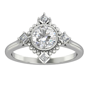 Milgrain Promise Ring, 1.0CT Round Cut Moissanite Engagement Ring