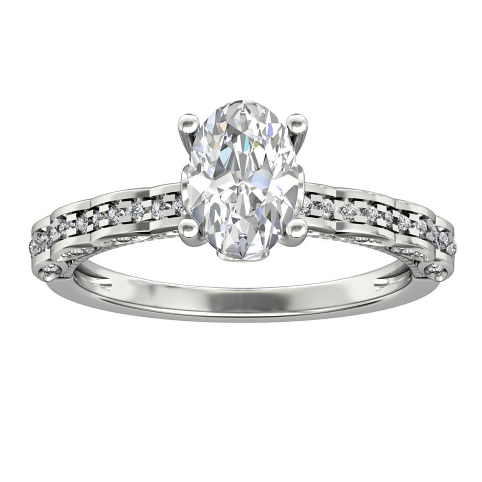 Half Eternity Women's Ring, 1.5CT Oval Cut Moissanite Wedding Ring