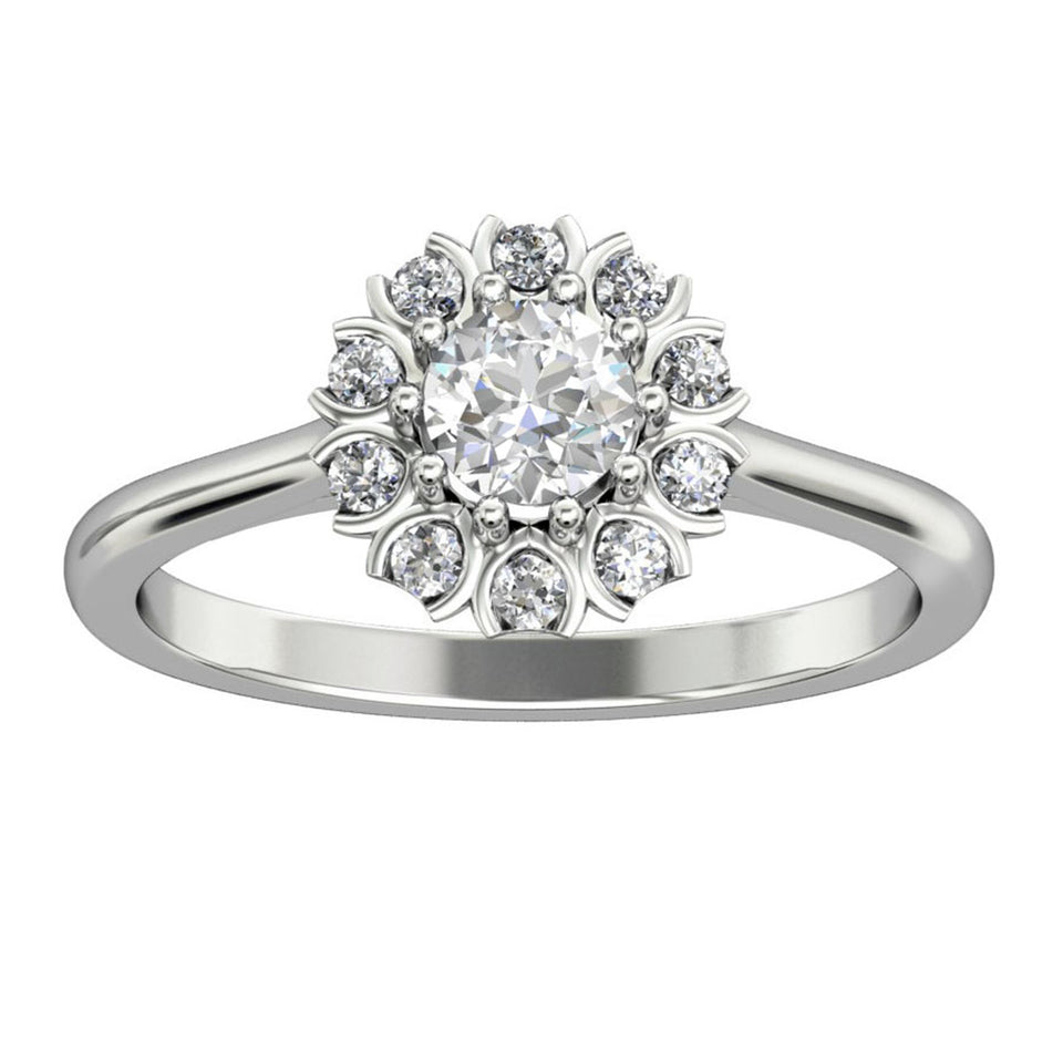 0.5CT Round Cut Moissanite Engagement Ring, 14k Gold Art Deco Halo Ring