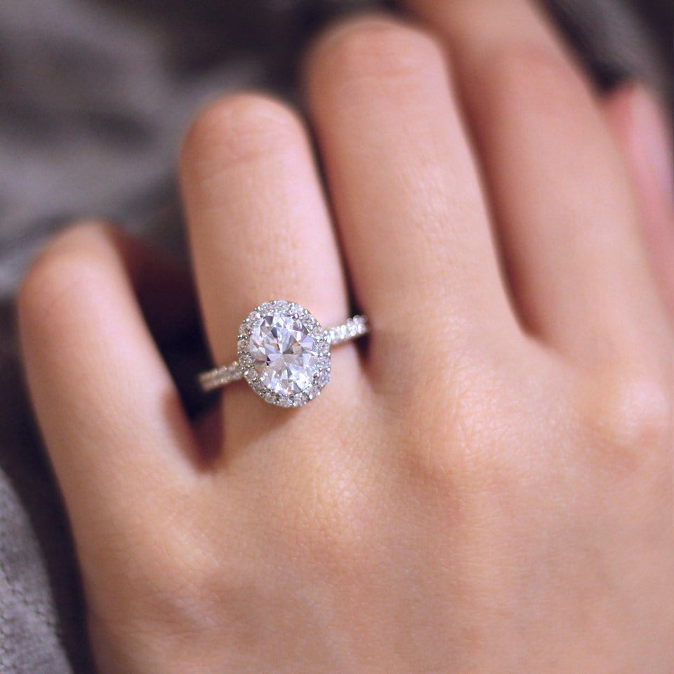 925 Sterling Silver - Oval Cut 7x9mm Moissanite Halo Engagement Ring