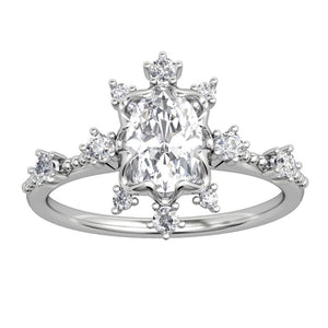 Lover Promise Ring, 1.5CT Oval Cut Brilliant Moissanite Engagement Ring