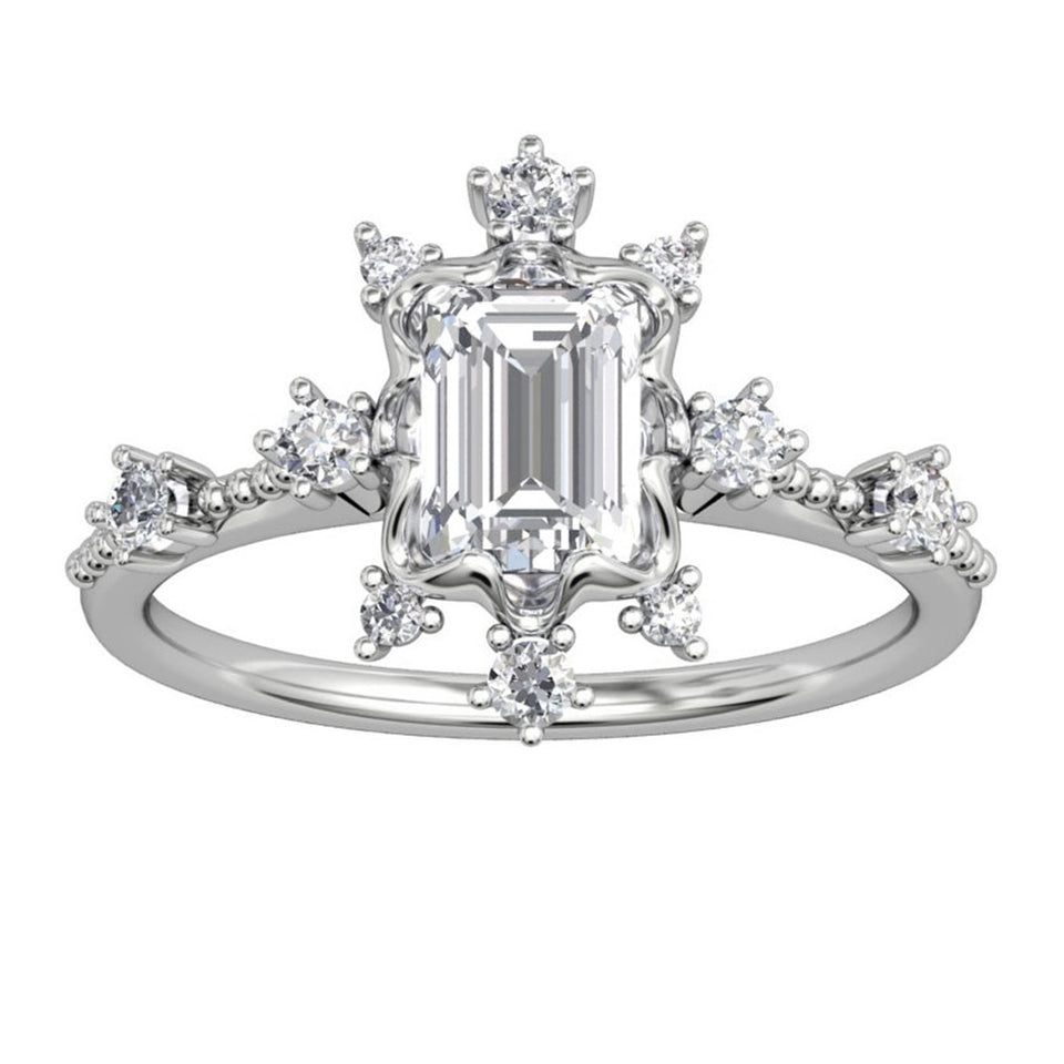 Accents Solid 14k Gold Wedding Ring, 1CT Emerald Cut Moissanite Ring
