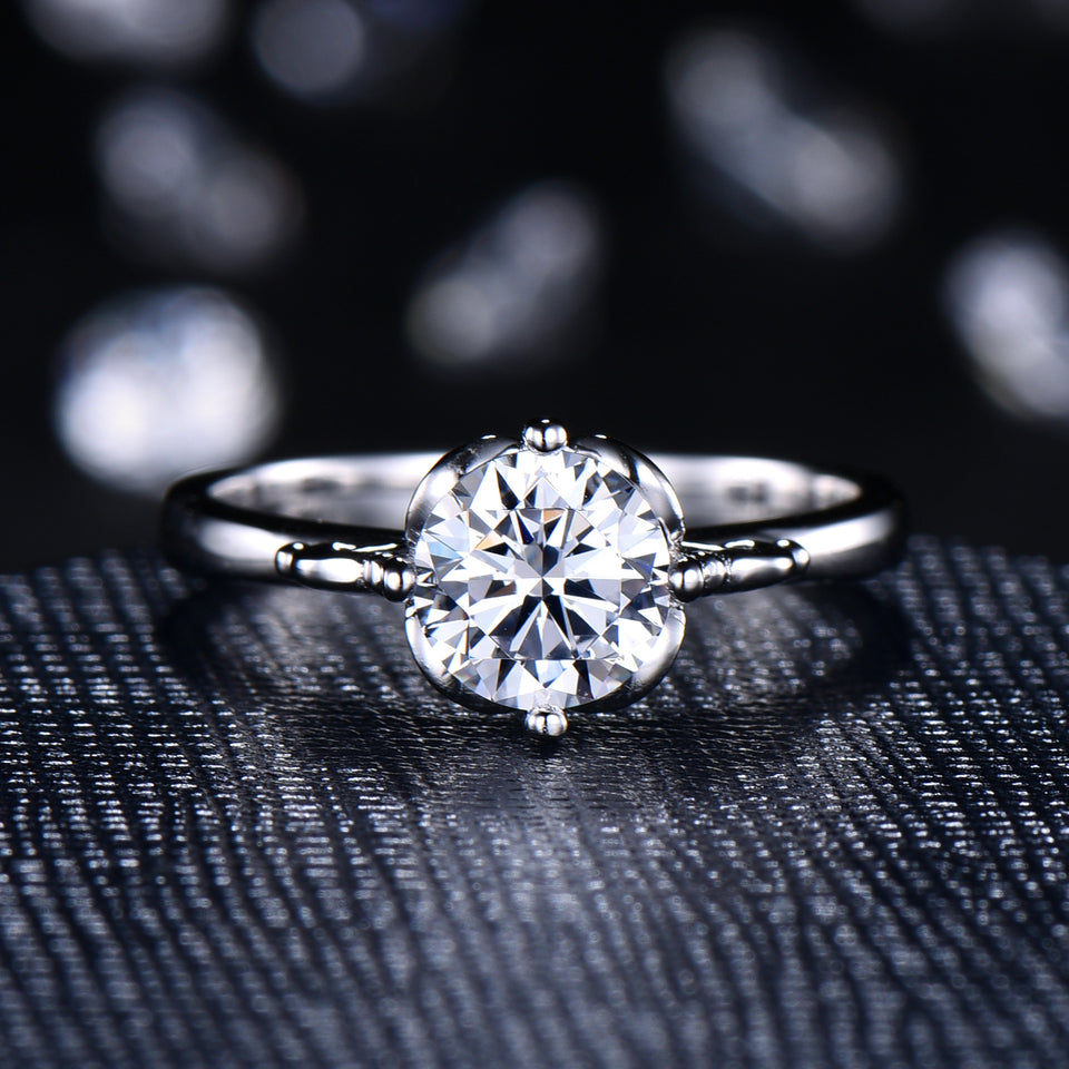 Round Cut 1CT CVD Lab Grown Diamond Elegant Solitaire Ring