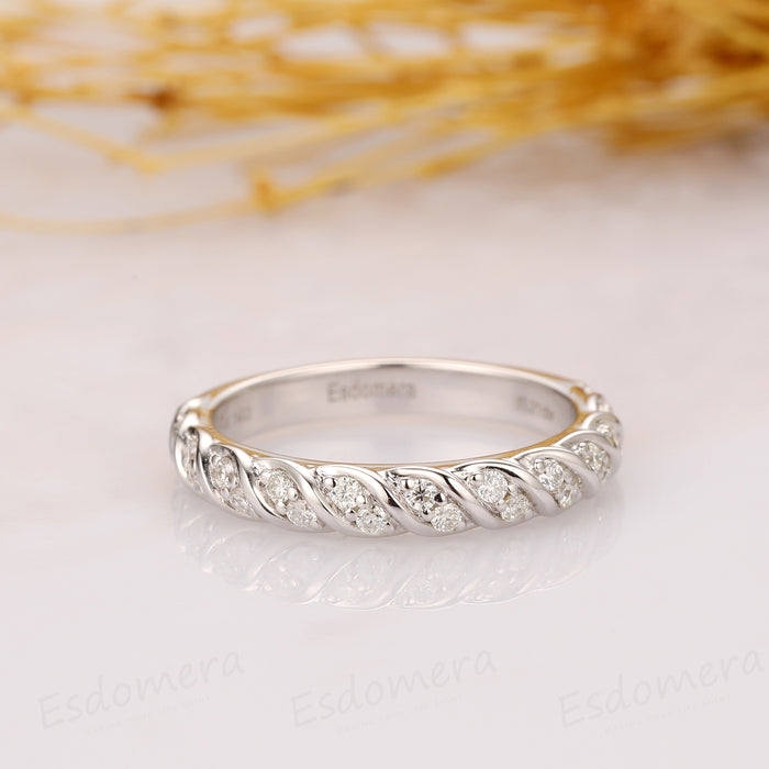 Rope Style Moissanite Band, Half Eternity Wedding Band, Stack Ring