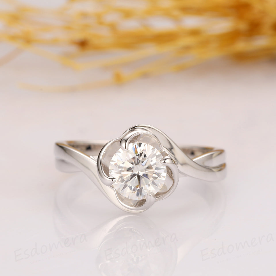 Round Cut 1ct Esdomera Moissanite Ring, Solitaire Flower Style Engagement Ring